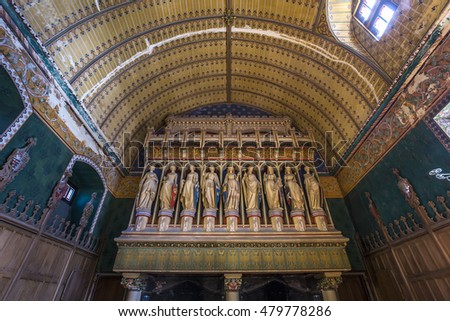PIERREFONDS, FRANCE, AUGUST 13, 2016 : interiors and details of chateau de Pierrefonds, august 15, 2016 in Pierrefonds, Oise, France