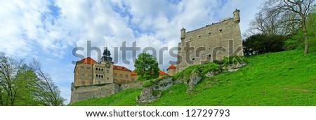 pieskowa skala castle, panorama, - stock photo