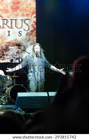 PIESTANY, SLOVAKIA - JUNE 26: Timo Kotipelto - singer of Finnish power metal band Stratovarius performs on music festival Topfest in Piestany, Slovakia on June 26, 2015 - stock photo