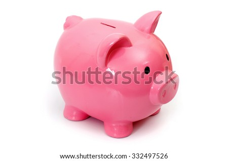 Pig bank, Isolated on White a Background. - stock photo