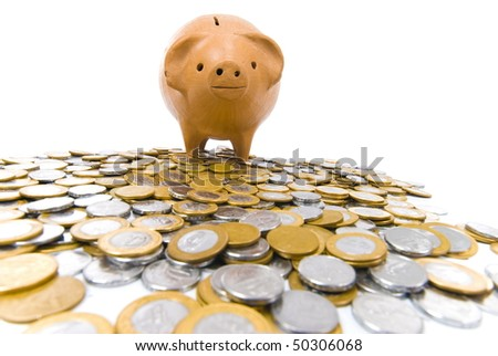 Pig bank with many coins on white background .