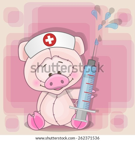 Pig nurse with a syringe in his hand - stock photo