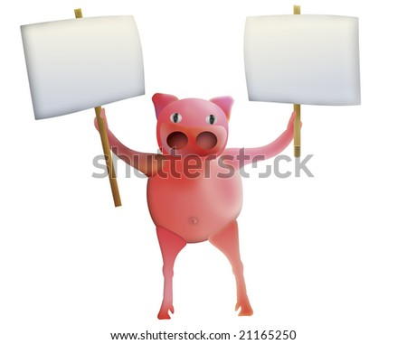 pig with empty boards - illustration