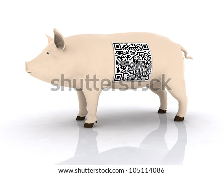 pig with qr code on the body, 3d illustration