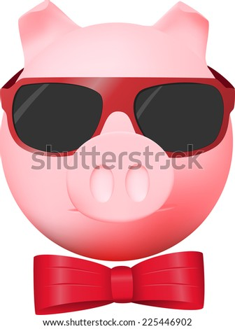 Pig with red bow and mirror glasses - stock photo