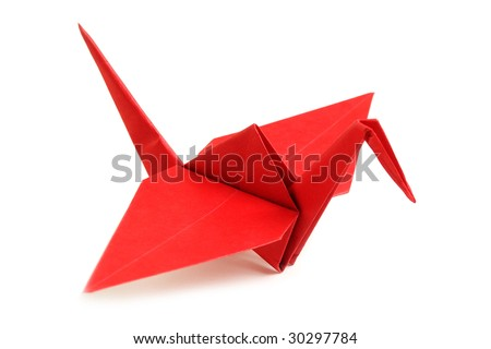 Pigeon from a paper in a kind origami - stock photo