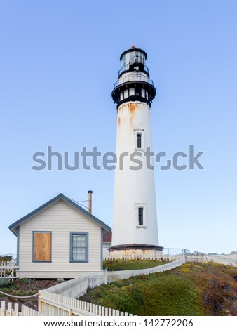 Pigeon Point Lighthouse in San Francisco Bay, California. - stock photo