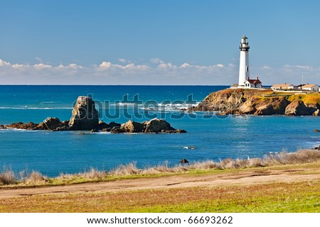 Pigeon Point Lighthouse on California coast - stock photo