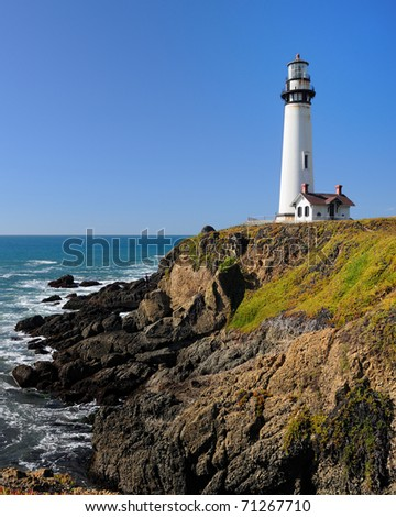 Pigeon Point lighthouse on the California coast - stock photo