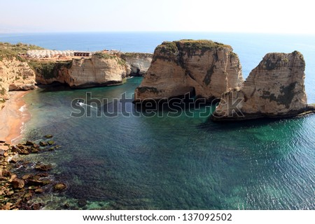 Pigeon Rocks. Raouche District, Beirut, Lebanon, Middle East - stock photo