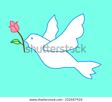 Pigeon with red rose - stock photo
