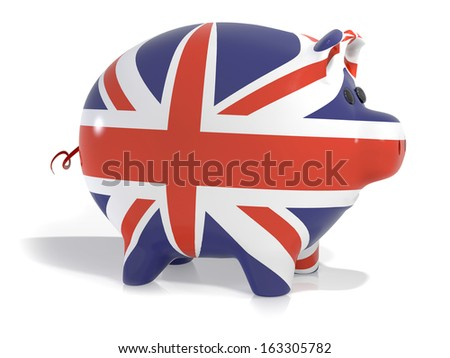Piggy back covered in union jack colours isolated on a white background - stock photo