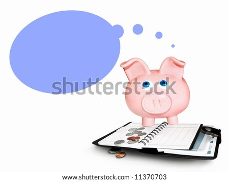 Piggy bank accounting and a blank speech bubble - stock photo
