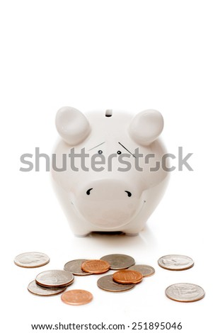 piggy Bank and American cents - stock photo