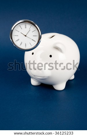 Piggy Bank and clock, Business concept