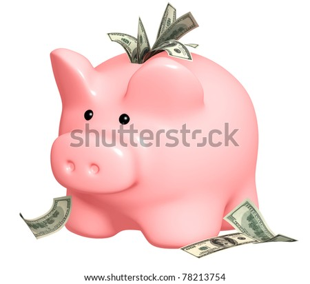 Piggy bank and dollars banknotes. Isolated over white - stock photo