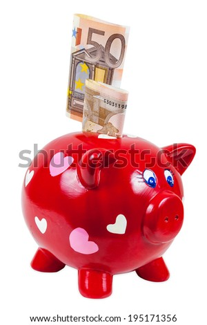 Piggy bank and 50 euro banknotes isolated on white background with clipping path - stock photo