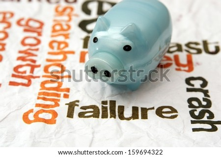 Piggy bank and failure concept - stock photo