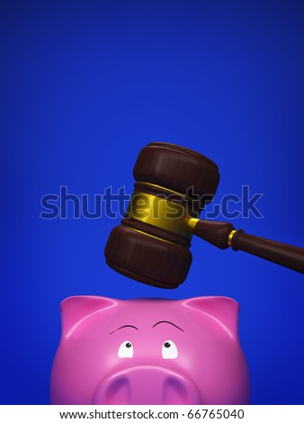 piggy bank and gavel on blue