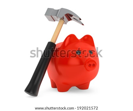 Piggy Bank and Hammer on a white background