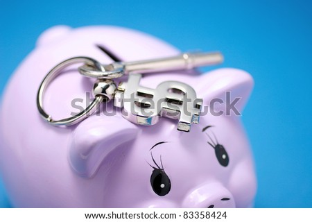 Piggy Bank and Key on Blue Background - stock photo