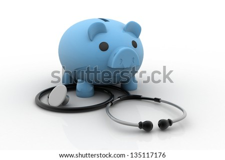 Piggy bank and stethoscope isolated on white - stock photo