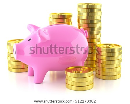 Piggy bank and stock golden coins isolated on white background 3d
