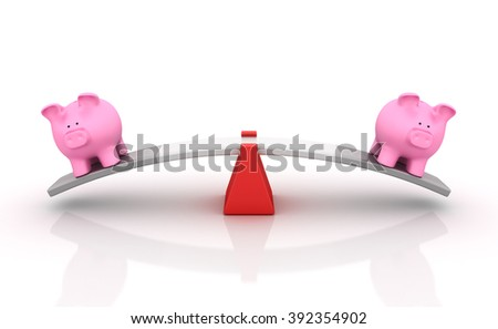 Piggy Bank Balancing on a Seesaw - Balance Concept - High Quality 3D Render   - stock photo