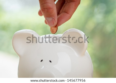 Piggy bank being loaded. Piggy Bank, Hand and Coin. - stock photo