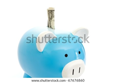piggy bank being loaded with cash - stock photo