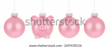 Piggy Bank Christmas Bauble - stock photo
