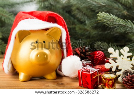Piggy bank Christmas for your big buy gifts - stock photo