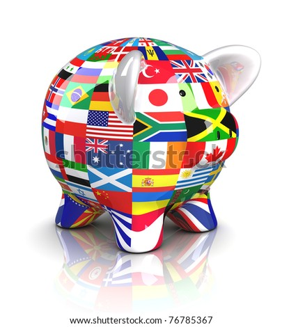 Piggy Bank - Collection of flags (Isolated) - stock photo