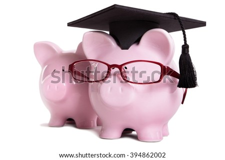 Piggy bank college student graduate graduation concept, teaching, graduating, piggybank with glasses