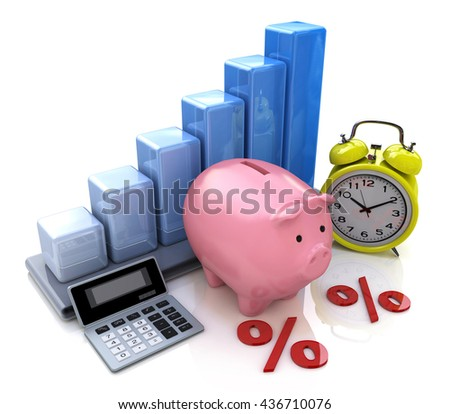 Piggy Bank Concept. The calculation of interest on deposits in the design of information related to business. 3d illustration - stock photo
