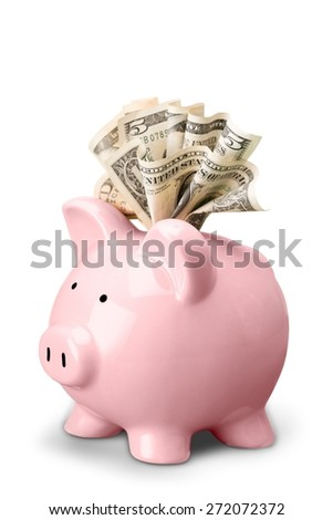 Piggy Bank, Currency, Dollar. - stock photo