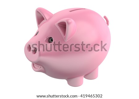 Piggy bank, 3D rendering isolated on white background