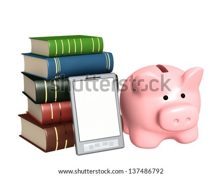 Piggy bank, e-book and books. Objects isolated over white - stock photo