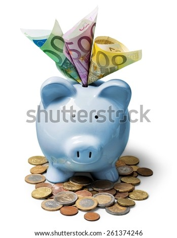 piggy bank full of Euros - stock photo