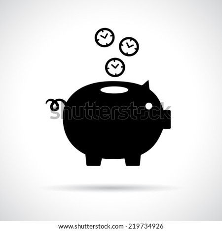 Piggy bank icon with clocks falling in. Time is money concept. Vector version is also available in the portfolio. - stock photo