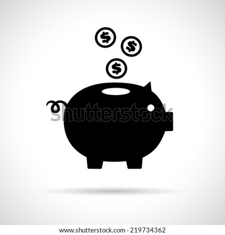 Piggy bank icon with coins falling in. Saving money concept. Vector version is also available in the portfolio. - stock photo