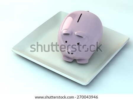 Piggy bank in a plate - stock photo