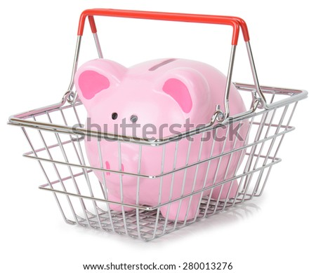 Piggy bank in a shopping basket isolated on a white background - stock photo