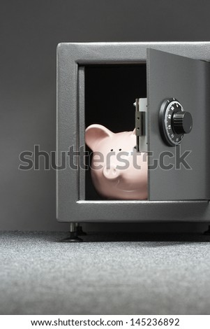 Piggy bank in safe - stock photo