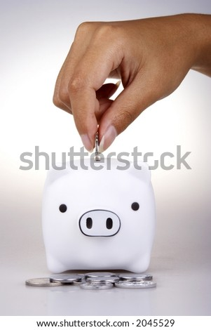 Piggy bank in white background. - stock photo