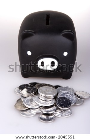Piggy bank in white background.