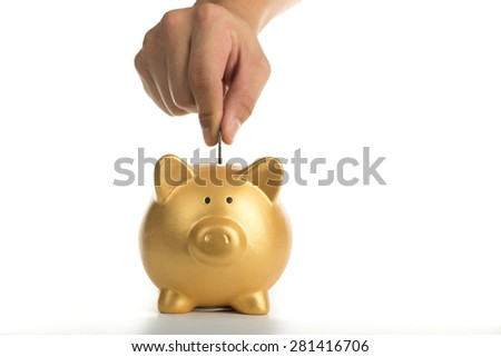 Piggy bank increasing your finance growing with white background.