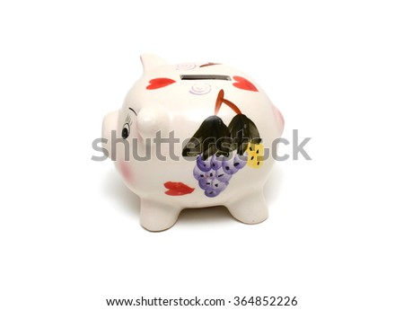 piggy bank isolated on the white background - stock photo
