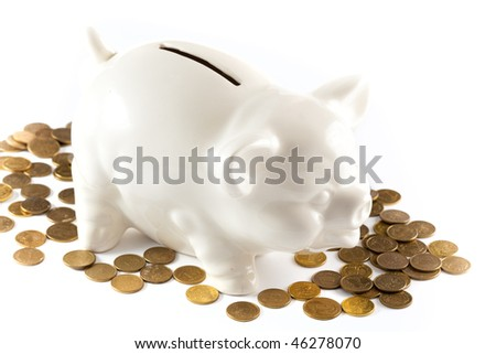 Piggy Bank isolated on white background with coins - stock photo