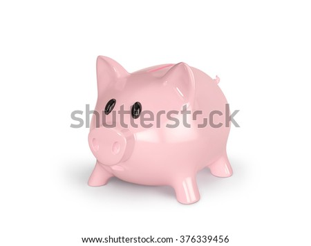 Piggy bank isolated on white. 3D render with clipping path